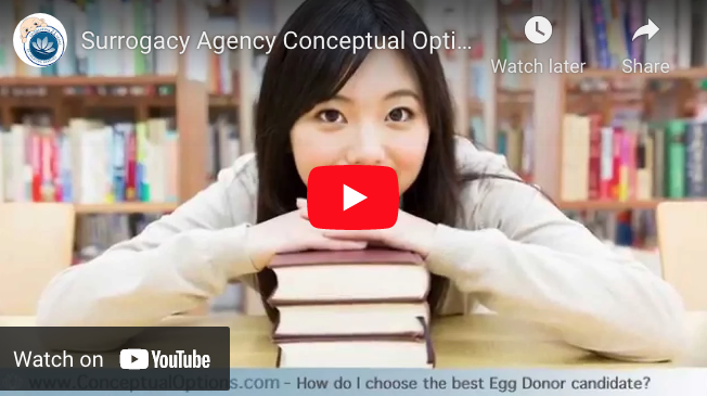 Surrogacy Agency Conceptual Options - FAQ How do I choose the best Egg Donor Candidate? YouTube ScreenShot